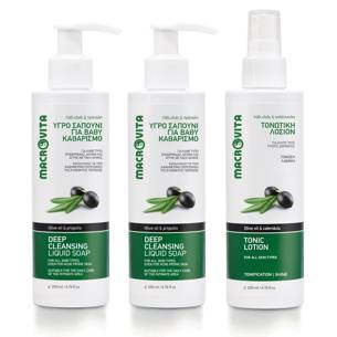 MACROVITA CLEANSING SET: DEEP CLEANSING LIQUID SOAP 200ml (2pcs.) + TONIC LOTION 200ml (1pcs.)