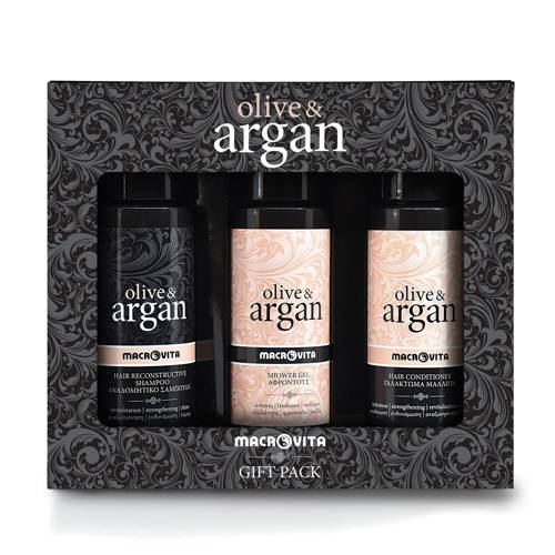 MACROVITA OLIVE & ARGAN GIFT SET: HAIR SHAMPOO 100ml + HAIR CONDITIONER 100ml + FREE SHOWER GEL 100ml