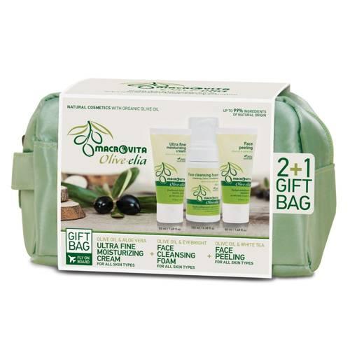 MACROVITA OLIVE-ELIA GIFT SET: 24-hour ultra fine moisturizing cream 50ml + face cleansing foam 3in1 100ml + FREE face peeling 50ml + travel bag