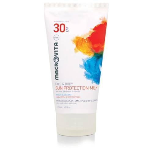 MACROVITA SUN PROTECTION MILK FACE & BODY SPF30 aloe vera, panthenol & olive oil 150ml