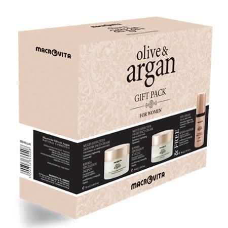 MACROVITA OLIVE & ARGAN GESCHENK-SET: Creme für normale und Mischhaut 50ml + Nachtcreme für alle Hauttypen 50ml + FREI Augencreme 30ml