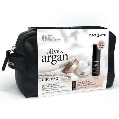 ZESTAW MACROVITA OLIVE & ARGAN: 24-godzinny krem hialuronowy z arganowymi komórkami macierzystymi 50ml + GRATIS liftingujące serum na twarz, szyję i dekolt 30ml + kosmetyczka